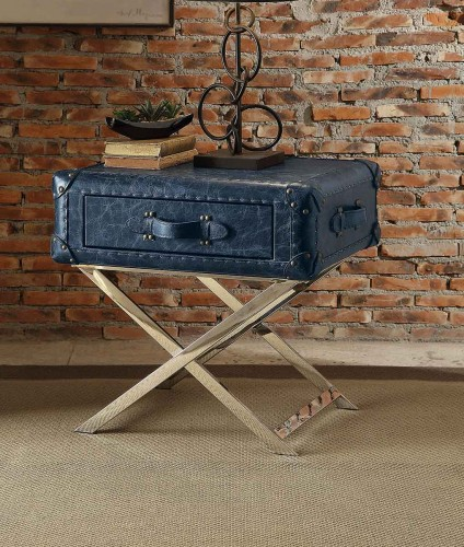 Aberdeen End Table - Vintage Blue Top Grain Leather