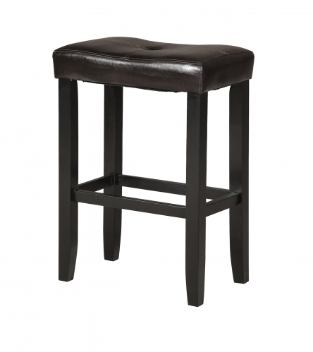 Micha Counter Height Stool - Espresso Vinyl/Black