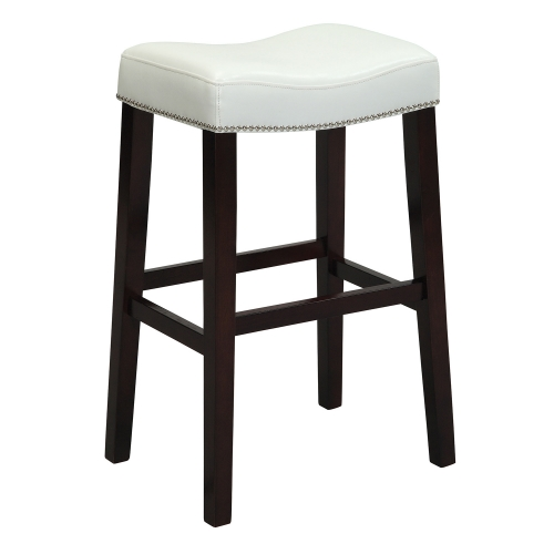 Lewis Bar Stool - White Vinyl/Espresso