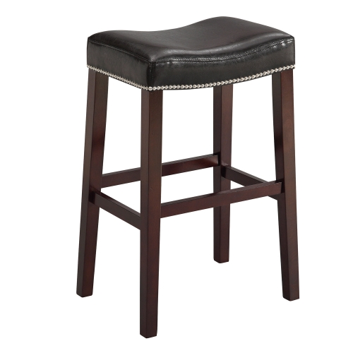 Lewis Bar Stool - Black Vinyl/Espresso