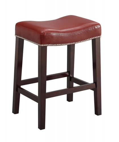Lewis Bar Stool - Red Vinyl/Espresso