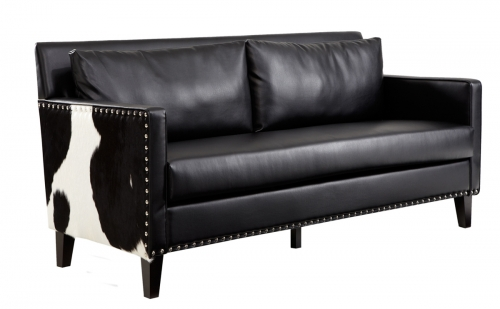Dallas Loveseat - Black Leather/Real Cowhide Side Panels