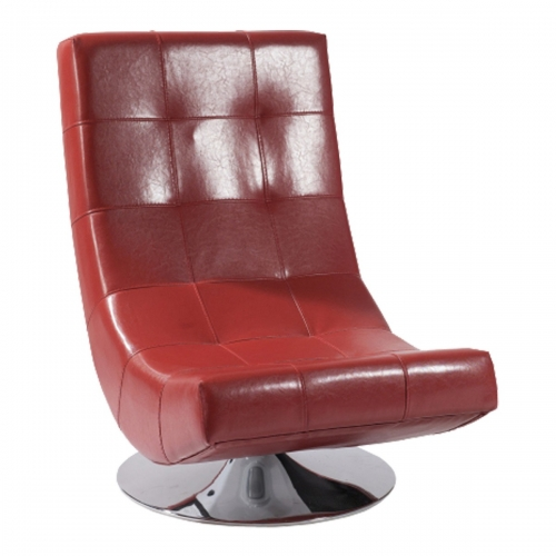 Mario Swivel Chair Red Bonded Leather