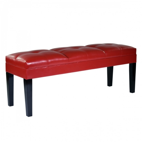 Howard Bench Red Bonded Leather