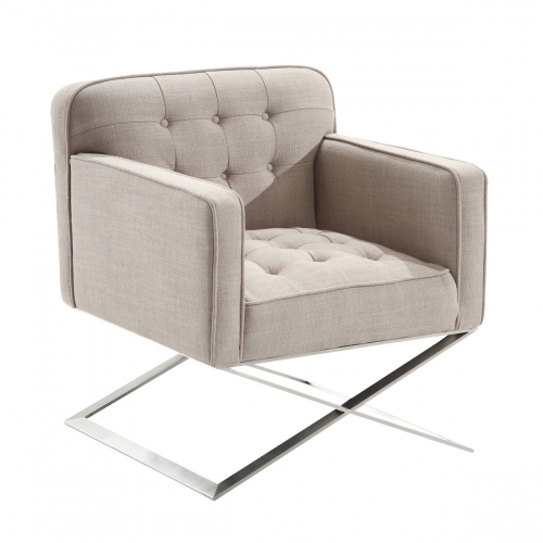 Chilton Modern Chair In Gray Fabric and Steel Finish