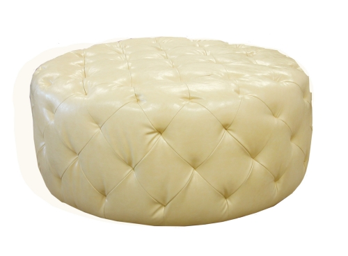 Victoria Ottoman - Ivory Bonded Leather