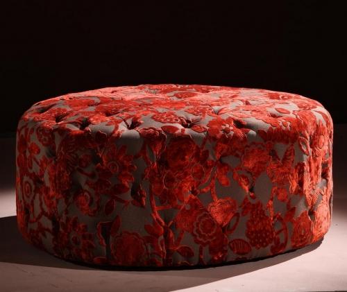 Victoria 40-inch Round Red Ottoman