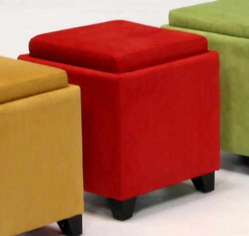 Micro Fiber Storage Ottoman - Red