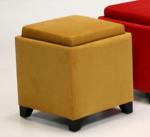 Micro Fiber Storage Ottoman - Yellow