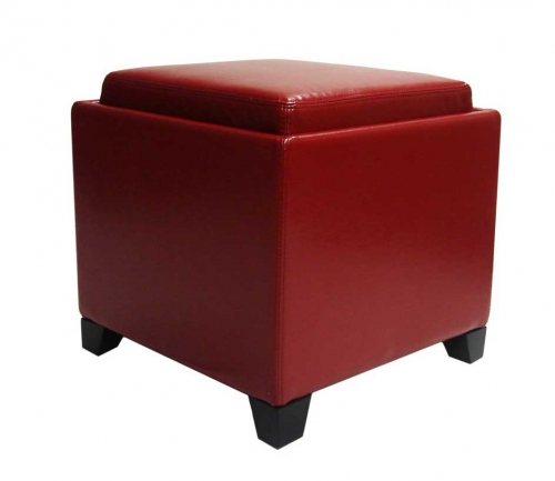 Contemporary Storage Ottoman with Tray - Red