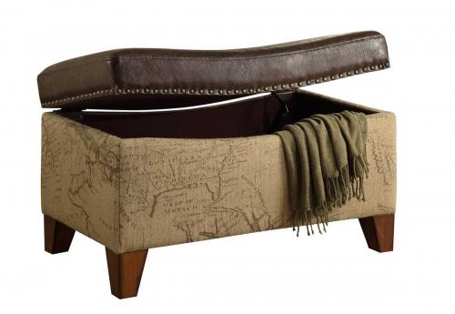 Storage Map Jute Fabric/ Vintage Trim Ottoman - Brown