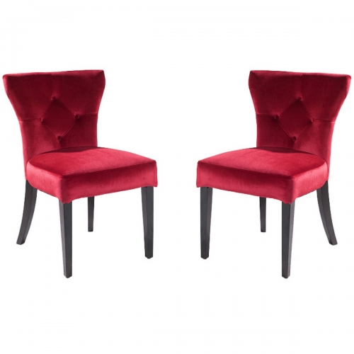 Elise Side Chair in Red Velvet