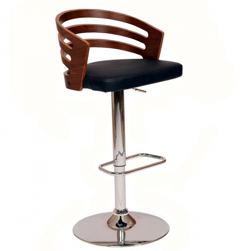 Adele Swivel Barstool In Black Leatherette/ Walnut Veneer and Chrome Base