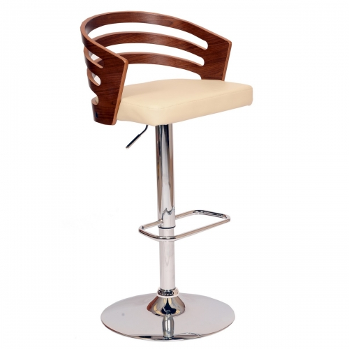 Adele Swivel Barstool In Cream Leatherette/ Walnut Veneer and Chrome Base