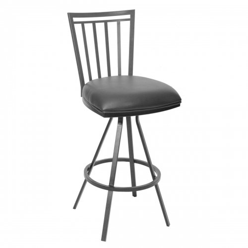 Aidan 26-inch Transitional Barstool In Gray and Gray Metal