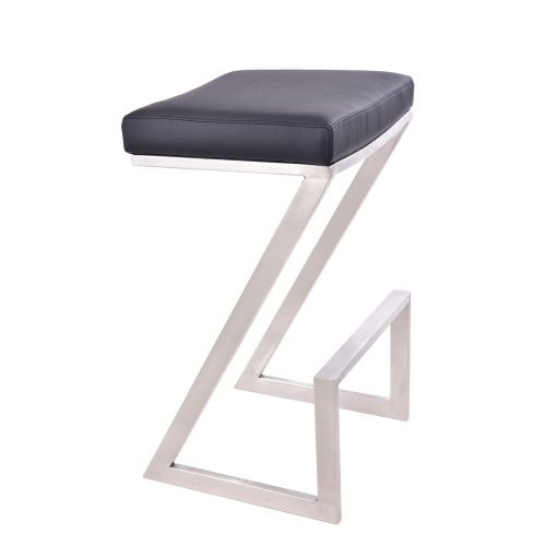 Atlantis 30-inch Backless Bar Stool - Black Leatherette