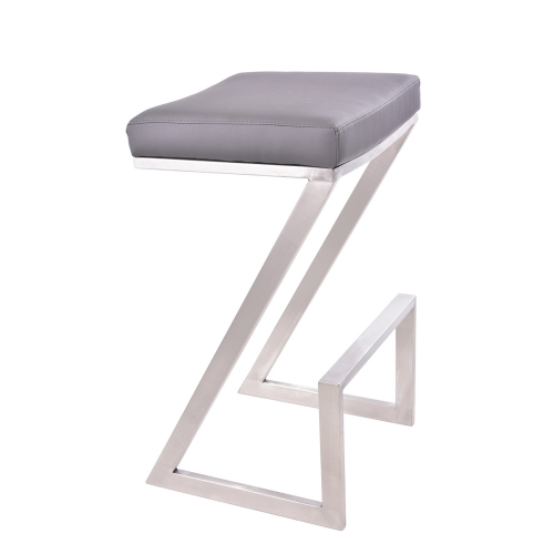 Atlantis 30-inch Backless Bar Stool - Grey Leatherette