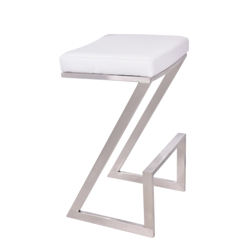 Atlantis 30-inch Backless Bar Stool - White Leatherette