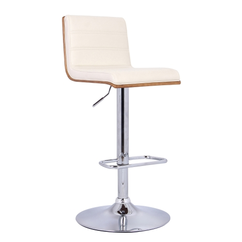Aubrey Bar Stool - Cream Leatherette/Walnut Back