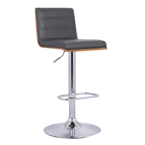 Aubrey Bar Stool - Grey Leatherette/Walnut Back