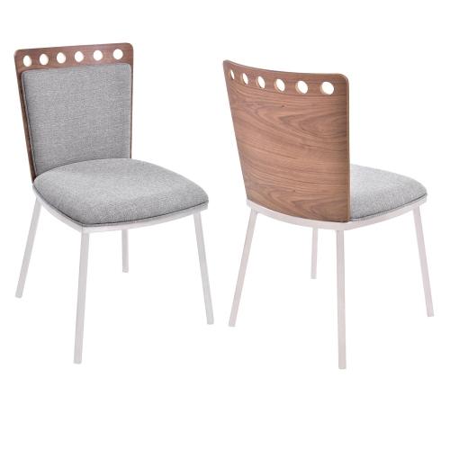 Brooke Dining Chair - Grey Fabric/Walnut Back