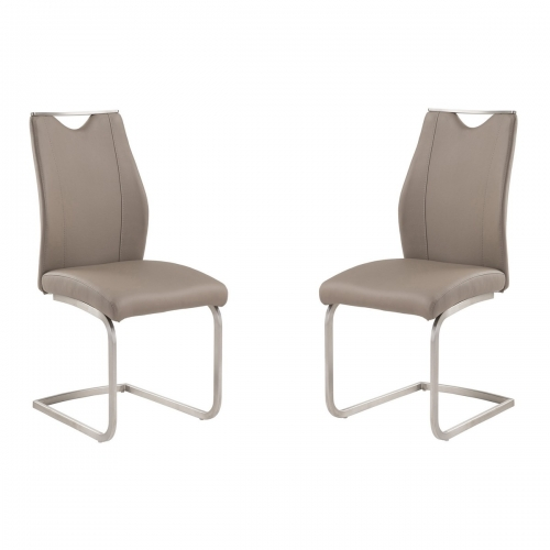Bravo Contemporary Side Chair In Coffee and Stainless Steel