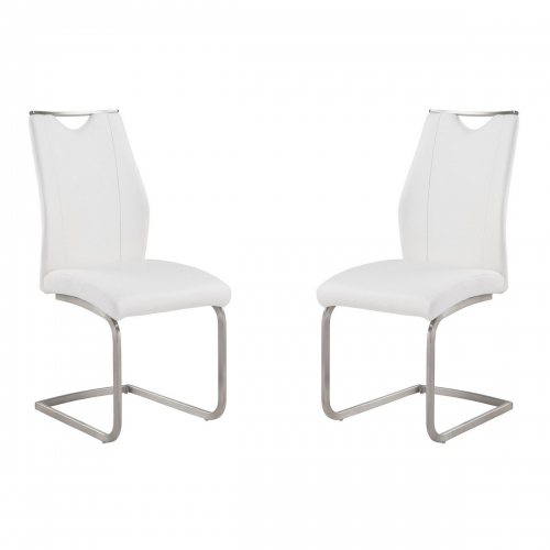 Bravo Contemporary Side Chair In White and Stainless Steel