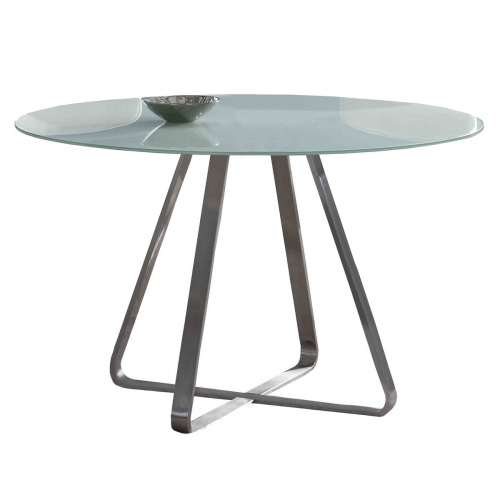 Cameo Modern Dining Table In Stainless Steel and Painted Glass