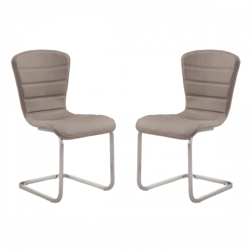 Cameo Modern Side Chair In Coffee and Stainless Steel