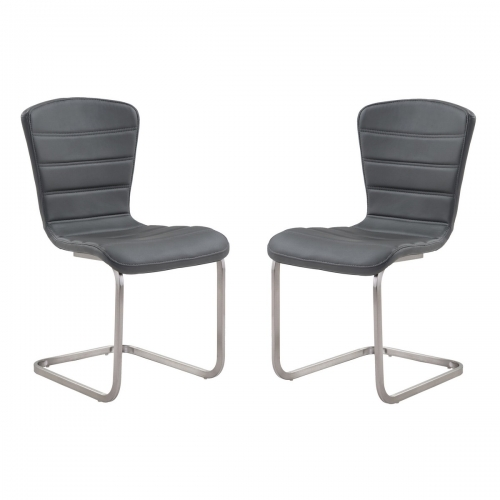 Cameo Modern Side Chair In Gray and Stainless Steel