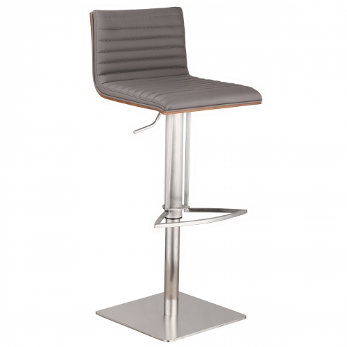 Cafe Adjustable Brushed Stainless Steel Barstool in Gray Leatherette with Walnut Back