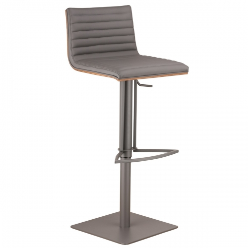 Cafe Adjustable Gray Metal Barstool in Gray Leatherette with Walnut Back