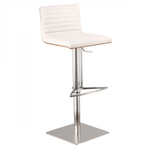 Cafe Adjustable Brushed Stainless Steel Barstool in White Leatherette with Walnut Back