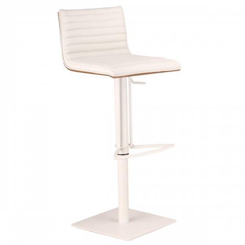 Cafe Adjustable White Metal Barstool in White Leatherette with Walnut Back