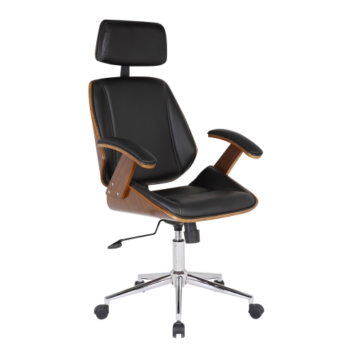 Century Office Chair - Black Leatherette/Walnut Veneer Back
