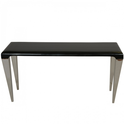 Chow Contemporary Marble Console Table in Black and Stainless Steel Finish