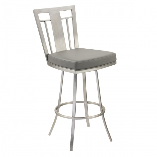 Cleo 26-inch Modern Swivel Barstool In Gray and Stainless Steel