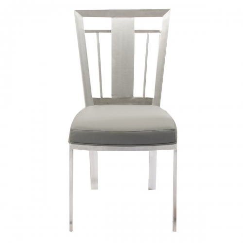 Armen Living Cleo Contemporary Dining Chair In Gray and Stainless Steel