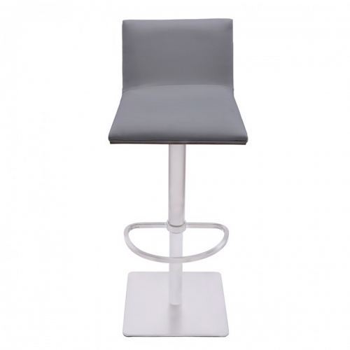 Crystal Bar Stool - Grey Leatherette/Walnut Back