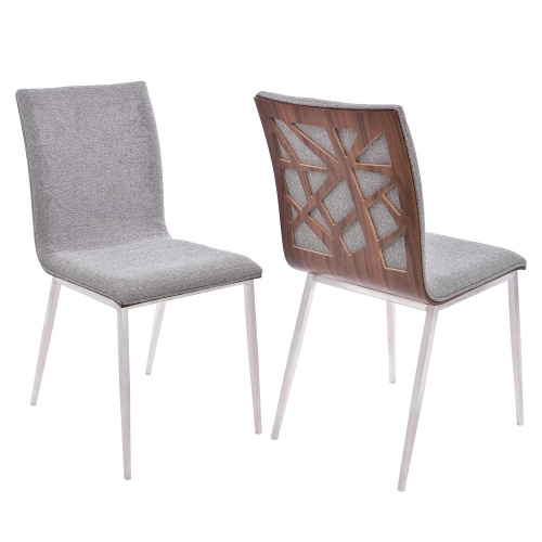 Crystal Dining Chair - Grey Fabric/Walnut Back