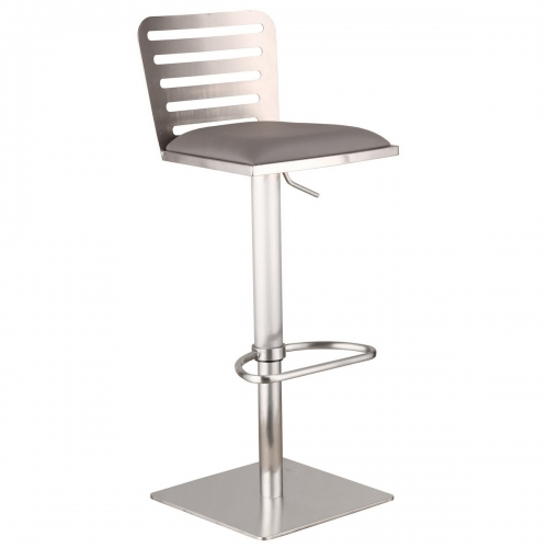 Delmar Adjustable Brushed Stainless Steel Barstool in Gray Leatherette
