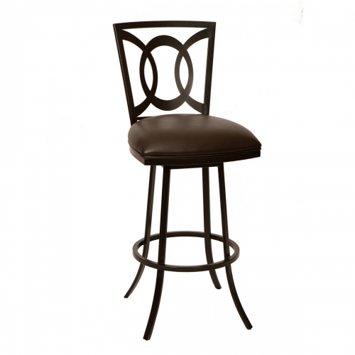 Drake 26-inch Transitional Barstool In Coffee and Auburn Bay Metal