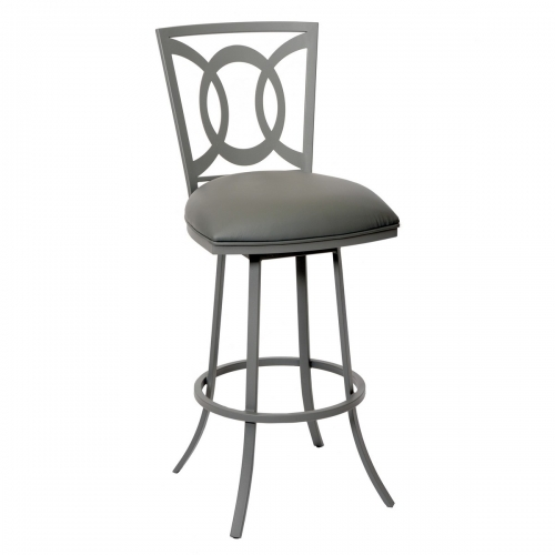 Drake 30-inch Transitional Barstool In Gray and Gray Metal