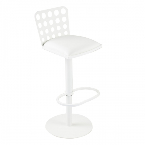 Dune Contemporary Barstool In White and White Metal
