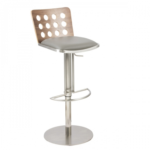 Elton Modern Barstool In Gray and Stainless Steel