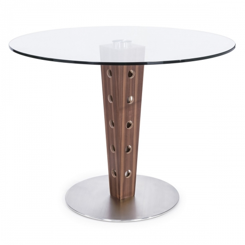 Elton Modern Dining Table In Stainless Steel and Glass Top