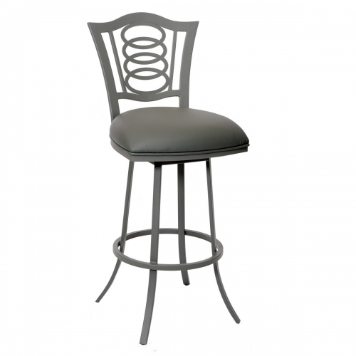Essex 26-inch Transitional Barstool In Gray and Gray Metal