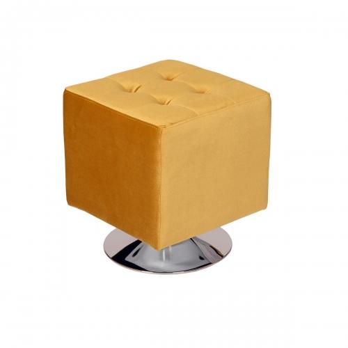 Pica Square 360 degree swivel Ottoman in Yellow Velvet
