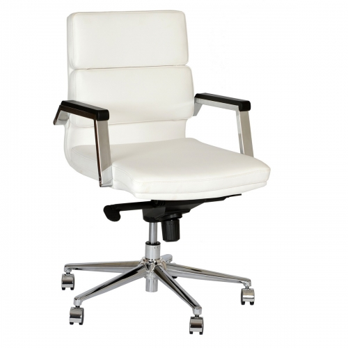 Fabian Modern Office Chair In White and Chrome
