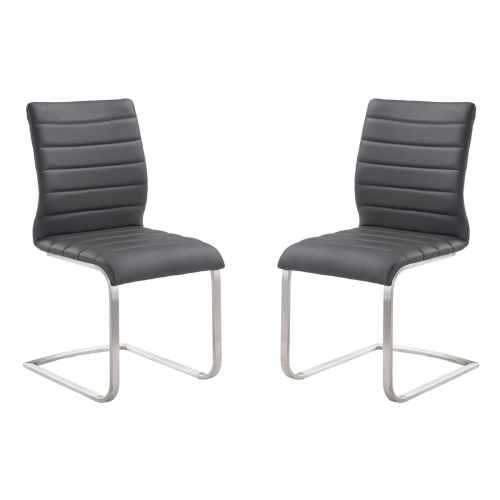 Armen Living Fusion Contemporary Side Chair In Gray and Stainless Steel